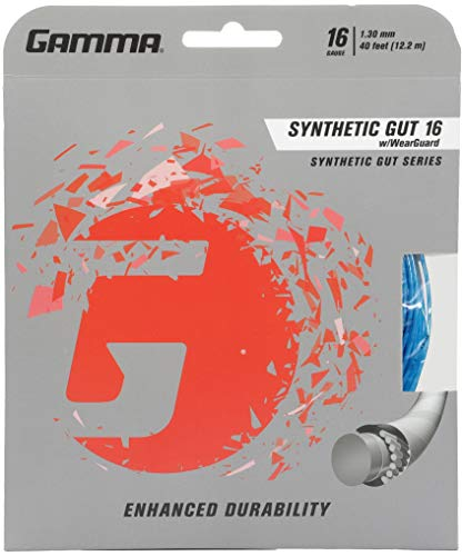 Gamma Sports 16g Synthetic Gut with Wearguard Tennis String Set, 40', Blue