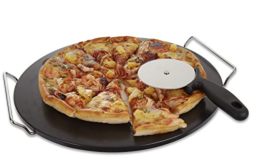 GOVOG Pizza Stone for Oven Grill Black Glaze BBQ Baking Stone Round Ceramic with Cutter Handle Set Non-Stain, 15X2/5 (Black)