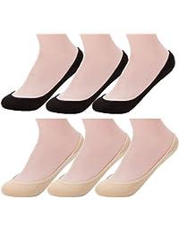 6 Pairs Women's No Show Socks Nonslip Invisible Socks Low...