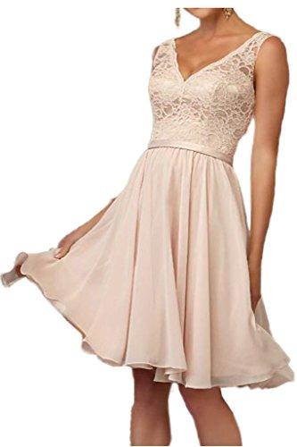 Victory Bridal Romantisch Rosa Spitze A-linie Abendkleider Ballkleider Partykleider Kurz