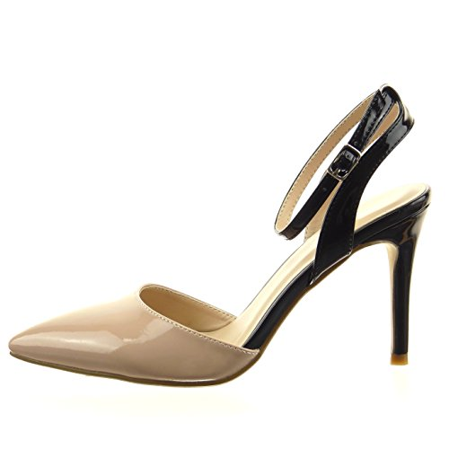 Sopily - damen Mode Schuhe Pumpe Stiletto Patent - Beige