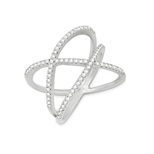 Beaux Bijoux Sterling Silver CZ Double X Off-Center Ring