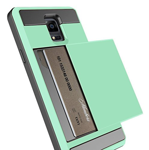 Note 3 Case, Anuck Protective Shell Galaxy Note 3 Wallet Case Card Pocket Shockproof Dual Layer Hybrid Rubber Bumper Case Cover with Card Slot Holder for Samsung Galaxy Note 3 - Mint Green