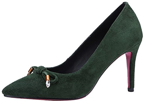 Calaier Womens Canoe Pointed-Toe 7CM Slip-On Pumps Shoes Green DWGRwVWE