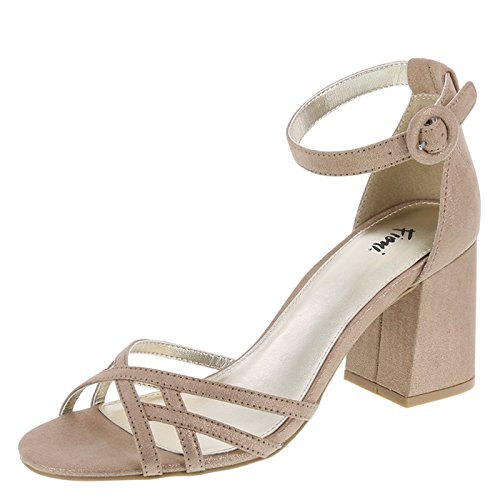Fioni Champagne Shimmer Women's Konnie Block Heel 8 Regular (Evening Shoe Ladies Prom Shimmer)