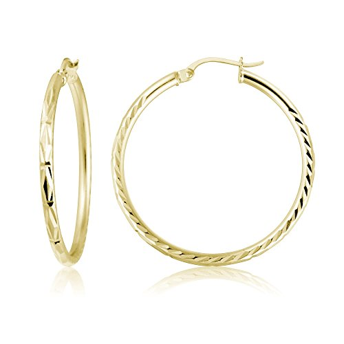 Gold Flash Sterling Silver 2mm Diamond-Cut High Polished Round Hoop Earrings, 30mm