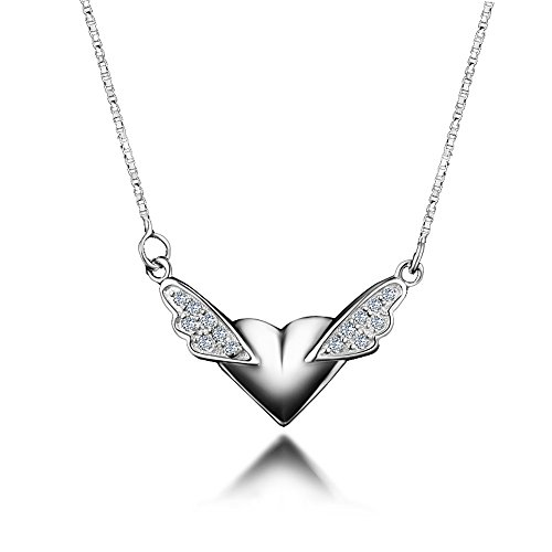 925 Sterling Silver Angel Wings Heart Pendant Necklace Mother Day Gift Fashion Jewelry For Girls