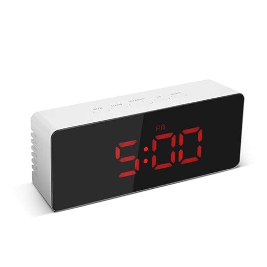 EPAWSWENLONG LED Espejo Alarma Reloj de Mesa Digital Reloj ...