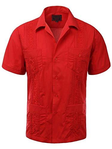 (Men's Guayabera Embroidered Cuban Beach Wedding Short Sleeve Button up Casual Dress Shirt Red)