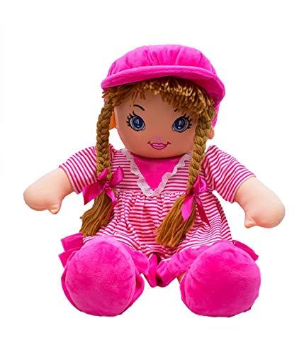 Boneca de Pano Pink com Chapeu e Roupa Listrada 60Cm, Foffylandia, Pink, 60 cm