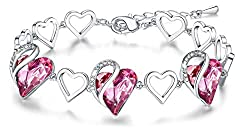 Heart Bracelet Made with Swarovski Crystals Birthstone
