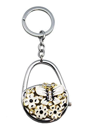 White/Black Butterfly and Flowers Lock Shaped Watch Keychain
