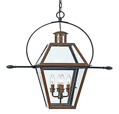 8' Charleston Collection (Quoizel RO1914AC 4-Light Rue De Royal Outdoor Lantern in Aged Copper)