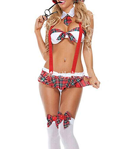 Olens 3 PCS Women's Sexy School Girl Outfit Cosplay Costume Plaid Skirt Strappy Lingerie Set Red ()