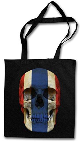 CLASSIC THAILAND SKULL FLAG Hipster Shopping Cotton Bag Cestas Bolsos Bolsas de la compra reutilizables - Bandera cráneo Schädel Tailandia Banner Fahne