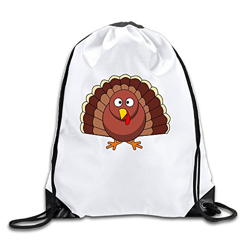 Price comparison product image Funny Turkey Face 100% Polyester Fiber Drawstring Backpack Bag One Size