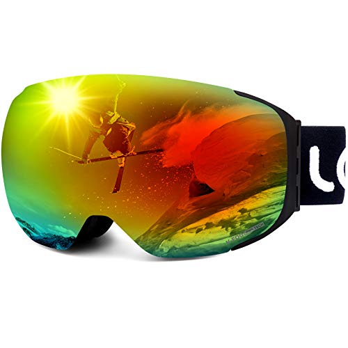 LEMEGO Ski Goggles Snowboard Goggles - Magnetic Frameless Interchangeable 100% UV400 Protection Dual Layers Anti-Fog Spherical Lens Anti-Slip Strap Helmet Compatible for Men & Women Youth (Red)