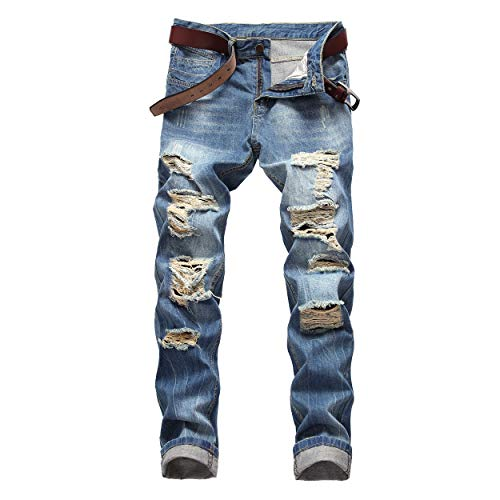DANT BULUN Men's Ripped Distressed Destroyed Slim Fit Straight Leg Denim Jeans(W32,Blue2) (Slim Fit Jeans Ripped Men)