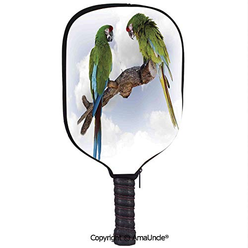 SCOXIXI 3D Pickleball Paddle Racket Cover Case,Two Parrot Macaw on a Branch Talking Birds Gifted Clever Creatures of The NatureCustomized Racket Cover with Multi-Colored,Sports Accessories ()