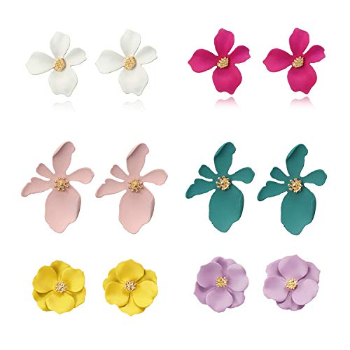 - Wremily 6 Pairs Boho Flowers Stud Earrings Set for Women Girls Chic Petal Flower Statement Earrings with Gold Flower Bud,3 Different Style
