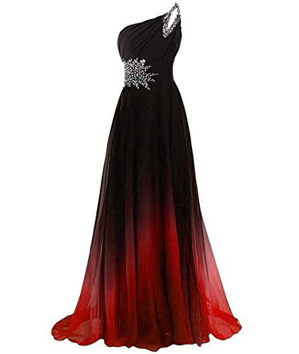 AN62 Prom Shoulder red Anlin Beaded Gown Womens Gradient Long Chiffon Party Bridesmaid Dress One amp qgCPI