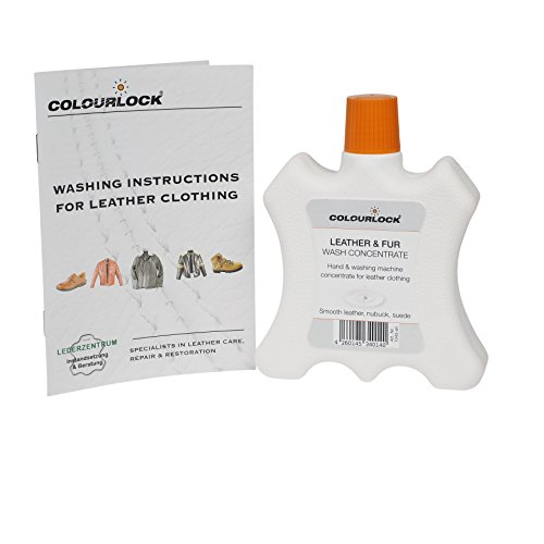 COLOURLOCK Leather & Fur Wash Concentrate 8.45fl oz - Liquid Detergent to machine wash or hand wash motorbike jackets and trousers, suede jackets, cowhide or sheepskin - Jacket Wash Suede