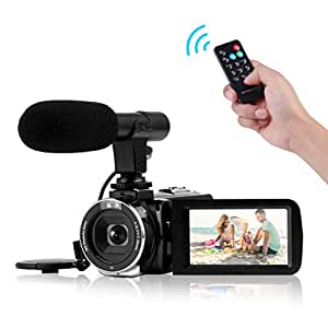 4K Videocámara con Micrófono Cámara de vídeo WiFi Digital
