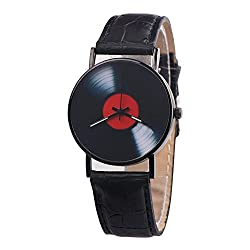Men Watch Luxury Quartz Watches Analog Leather Band Casual Watches Male Business Watch (Black)