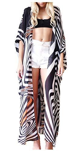 - Wander Agio Womens Bikini Cover Ups Beach Casual Dress Coverup Swimsuits Long Cardigan Buttons Chiffon Zebra-Stripe