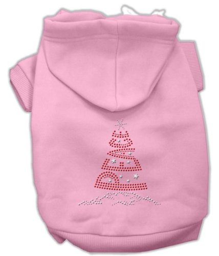 Mirage Pet Products 14-Inch Peace Tree Rhinestone Hoodies, Large, Pink