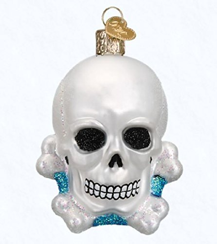 Old World Christmas Skull and Crossbones Glass Blown Ornament (Pirate Christmas Ornament)