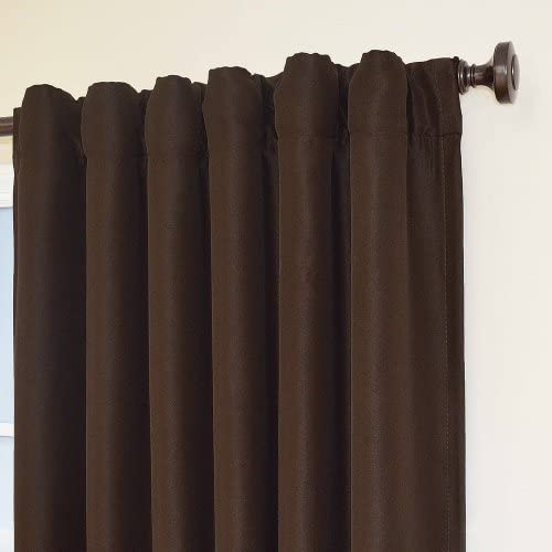ECLIPSE Fresno Thermal Insulated Single Panel-Rod Pocket Darkening Curtains for Living Room, 52 x 108 , Espresso