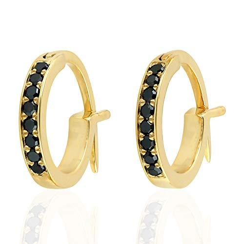 14K Yellow Gold Micropave-Set Black Diamond Huggie Hoop Fashion Earrings For Women