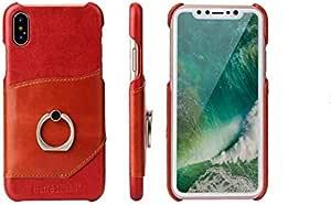 جلد طبيعي أحمر حالة حلقة قوس حامل بطاقة الغطاء الخلفي فريد من نوعه مضاد للسقوط غطاء هاتف مضاد للصدمات لآيفون XS ماكس