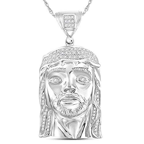 - Dazzlingrock Collection Sterling Silver Mens Round Diamond Jesus Face Christ Charm Pendant 1/4 Cttw