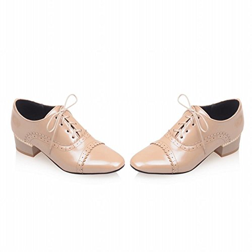 Fashion Shoes Chunky apricot toe Women's Heel up Latasa Mid Lace Oxford Square 5Fvqqw4