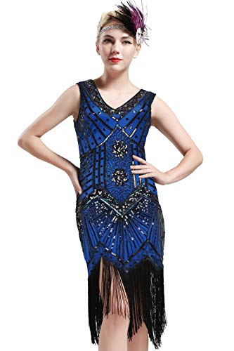 BABEYOND Women's Flapper Dresses 1920s V Neck Beaded Fringed Great Gatsby Dress (Blue, L (Fits 29.9