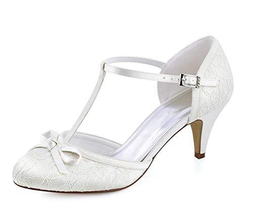 Chaussures strap Mariée Hhgold 5 T Ivoire Uk Dentelle 2 Rétro Taille Dames coloré Mariage Noeud Belle fgqgBvzw