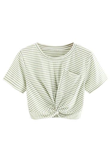 MAKEMECHIC Women's Short Sleeve Striped Twist Knot Pocket Crop Top Tee Shirt Green S