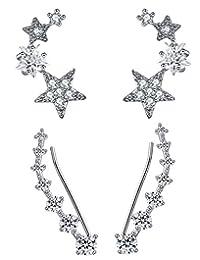 CISHOP Star Zircon Diamond Ear Cuff Earrings Alloy Climber Crawler Stud Earrings Set of 2 Pairs