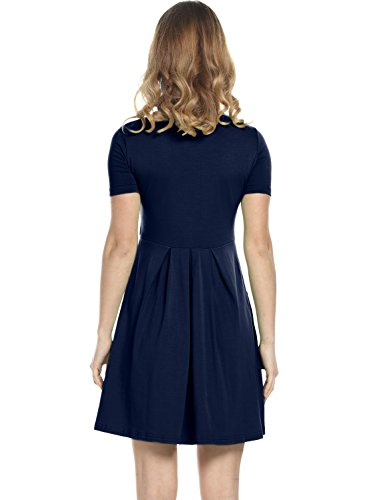 Amoretu Sportiva Tasche Svasato Estate Corta Manica Navy Pattinatore Il Blu Vestito Donna Con qTqrHR