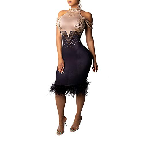 Nhicdns Womens Sexy Patchwork Sleeveless Rhinestone Halter Neck Feather Hem Bodycon Party Clubwear Midi Dress Black M -