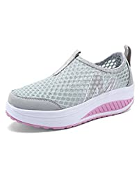 Women's Mesh Slip-On Platform Shoes Fitness Work Out Sneaker