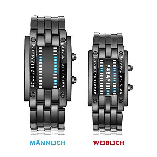 MCBQ® Sports Digitaluhr Herren, wasserdichte stoßfeste LED-Hintergrund beleuchtung-Paar-Uhr-Sport-LED-Armbanduhr-Legierungs-Bügel-3D Spiegel-Oberfläche passend für Paar-Geschenke (2 Pack),Black