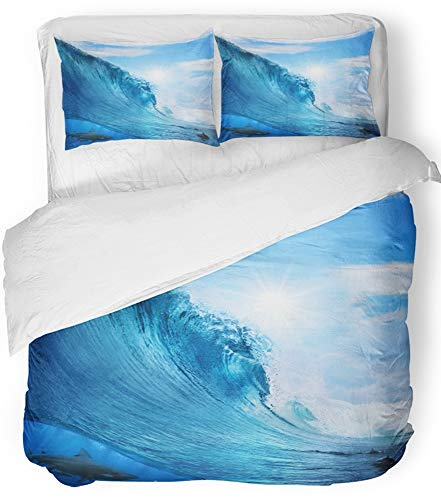 Emvency 3 Piece Duvet Cover Set Breathable Brushed Microfiber Fabric Big Ocean Wave Breaks Under Sun Light with Cloudy Sky Bull Shark Hunting Bedding Set with 2 Pillow Covers Twin Size