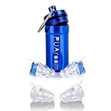 PUAroom High Fidelity Earplugs With 2 Different Sizes Reusable Silicone Hearing Protection for Musicians Concert Dj Motorcycles Travel Study Work Live Events Noise Sensitivity Conditions (Blue)