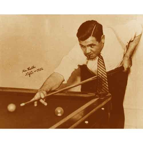 Quality digital print of a vintage photograph - Babe Ruth playing billiards NYC, 1922.. Sepia Tone 11x14 inches - Luster Finish