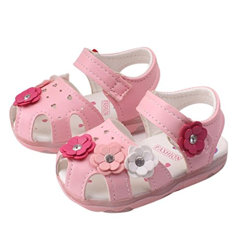 Binmer(TM) Baby Flowers Girls Sandals Lighted Soft-Soled Princess Baby Shoes (Length:13.5CM;Age:3-4Y , pink)