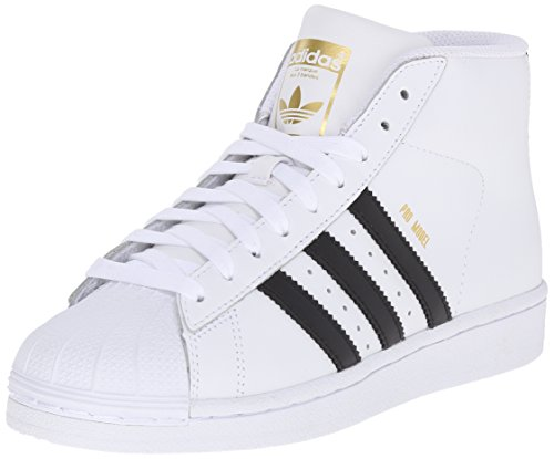 adidas Originals Pro Model J Fashion Sneaker (Little Kid/Big Kid), White/Black/White, 4.5 M US Big Kid
