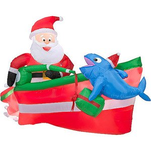 christmas decoration lawn yard inflatable santa claus fishing in boat animated 4 tall